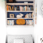 DIY built-in bookshelves left side