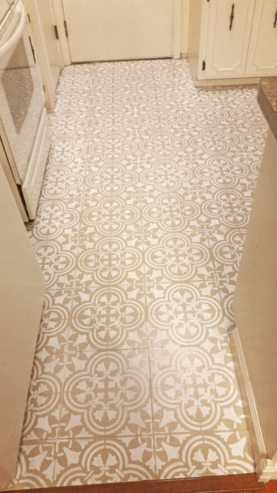 Kitchen floor before and after paint stencil DIY