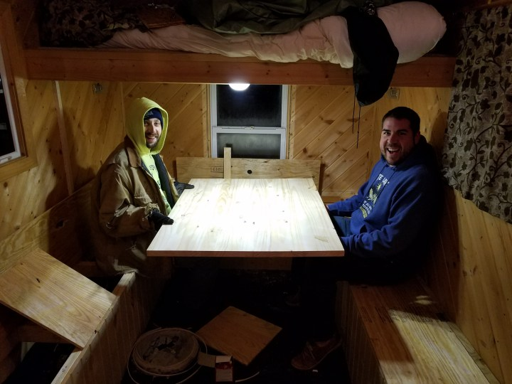DIY ice shack house lake ice fishing permanent woodworking stain table foldup bench