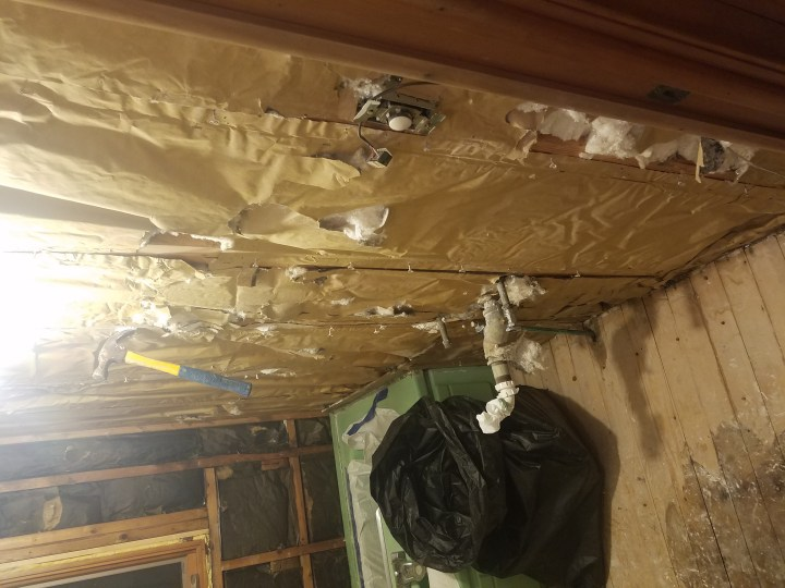 demo shower walls insulation