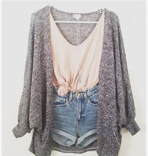 Casual spring outfit. Grey cardigan with a pale pink tie tank top and cuffed denim short