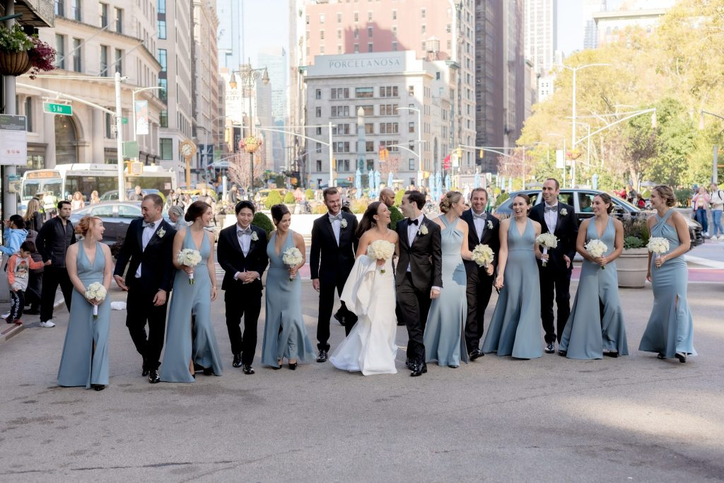 wedding party in Madison Square Park