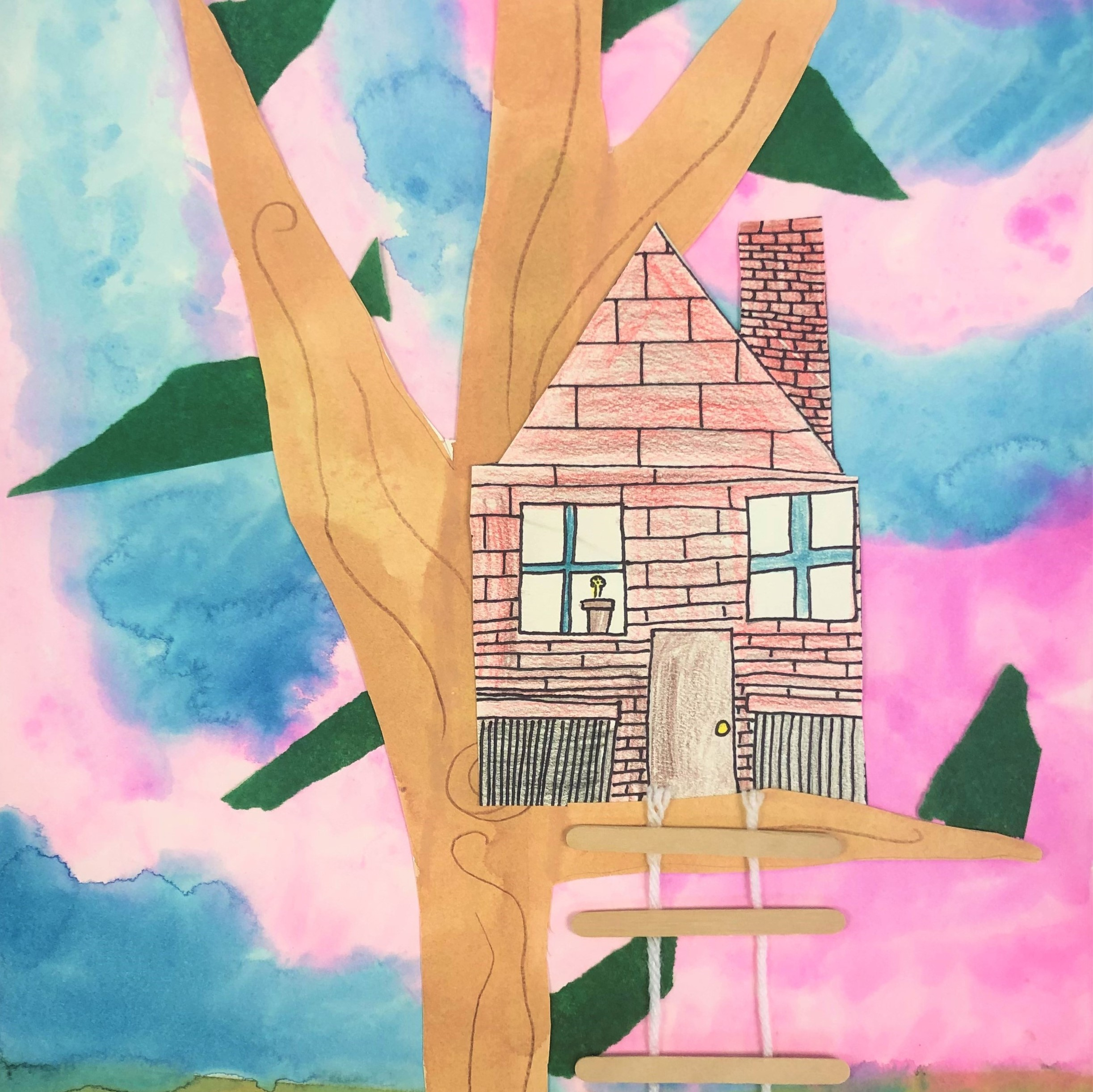 Tree House Collage Art Lesson For Kids