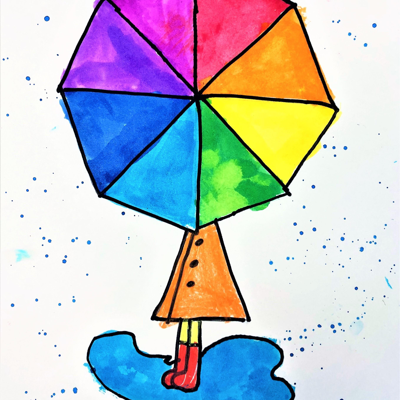 Color Wheel Umbrella Art Lesson For Kids