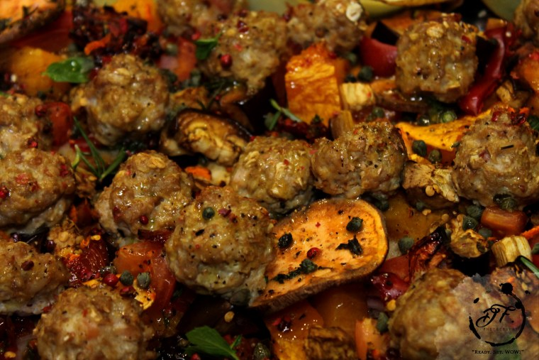 pork meatball traybake goodfoodeveryday