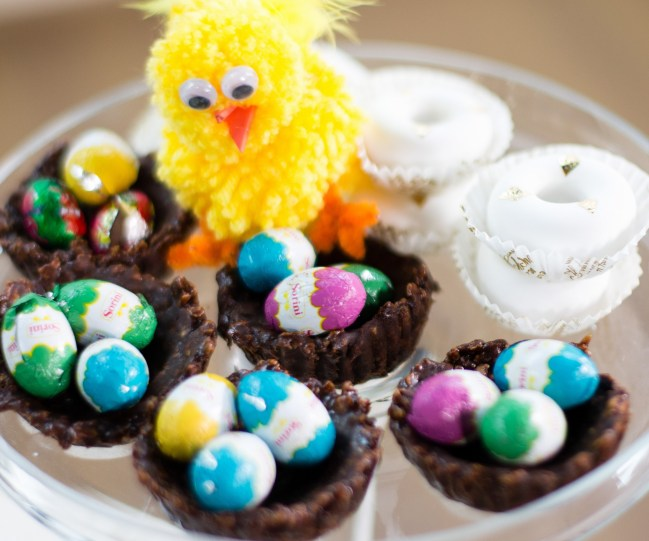 easter nests with chocolate cornflakes