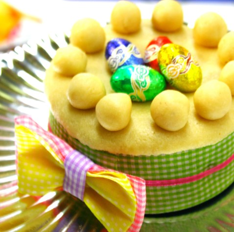 Mini Simnel Cake as seen on TV, disposable tableware by AMC. mini easter eggs by Fiona's candy cart