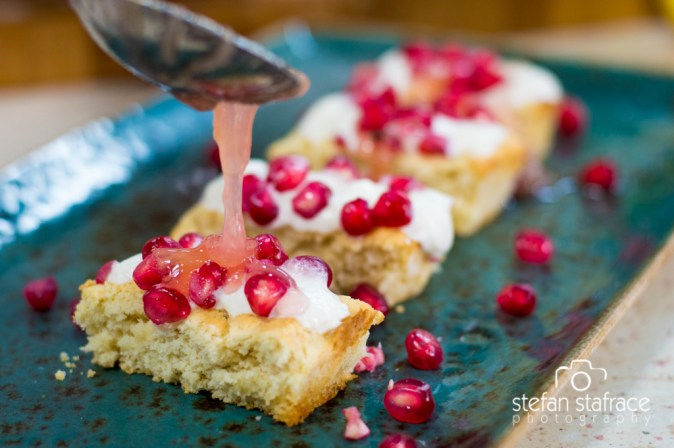 LGFE aquafaba sponge slices with rhubarb compote and pomegranates (Stefan Stafrace)