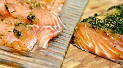 Sliced cold cured salmon, photo Charles Vassallo