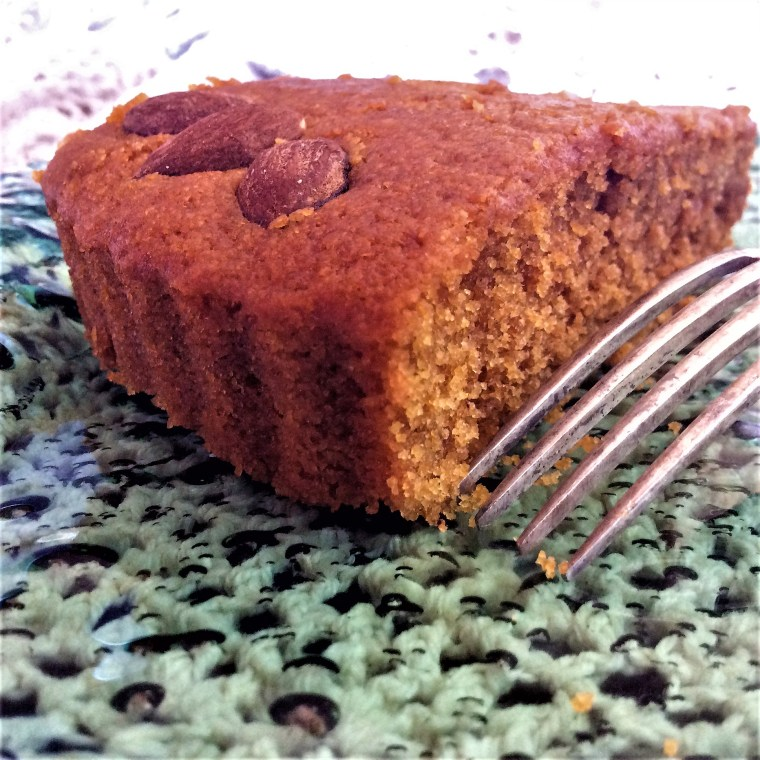 turmeric tart slice with fork