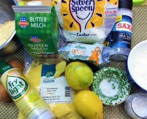 Ingredients for my Lemon Polenta cake