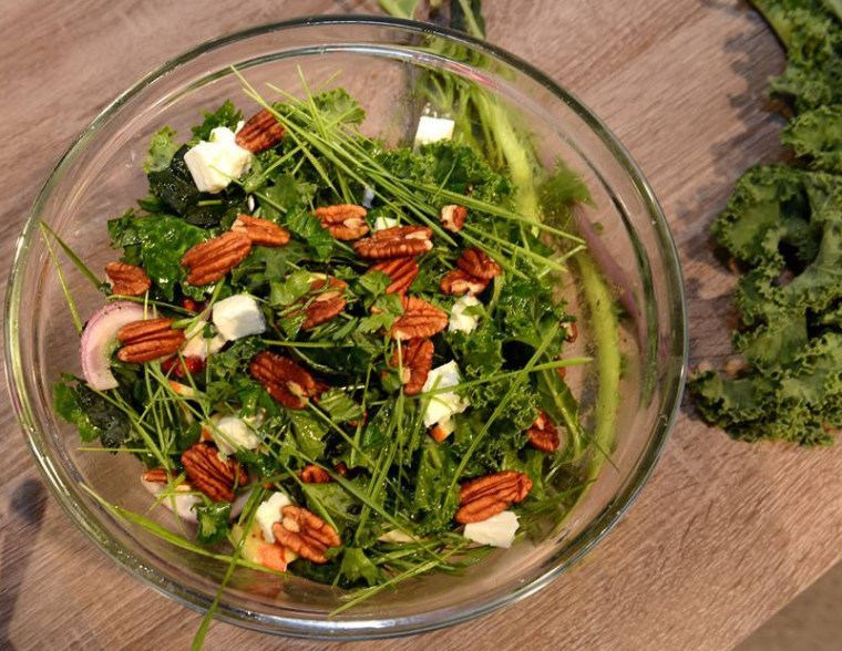 Pecan Kale and feta salad
