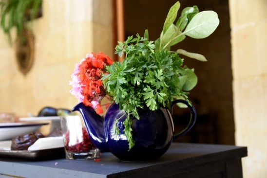 teapot with geranium