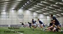 At rugby practice on Dec. 4, 2013 in Holuba Hall, the team scrimmages each other to prepare for their final game that weekend. Due to his injury, Blaze Feury was not allowed to participate in the playoff games or practice.