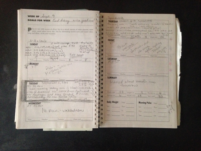 Training log entry for run on Sept. 11, 2001