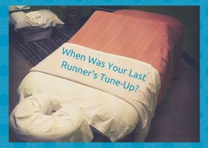 "Photo of massage table with title, ""When was your last runner's tune-up?"""