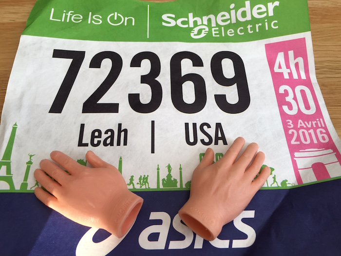 Paris Marathon bib for Leah Nyfeler with tiny hands.