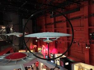 Models of USS Enterprise from various Star Trek series at Museum of Pop Culture in Seattle.