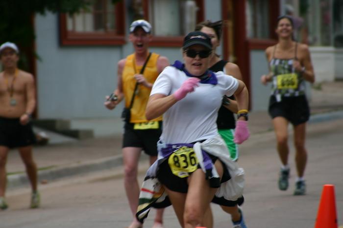 Leah Nyfeler finishing 2005 Pikes Peak Marathon