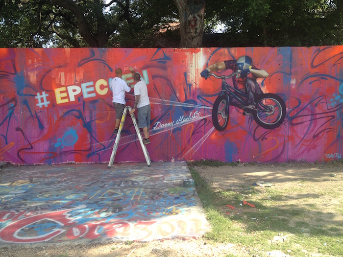 "Two Austin-based graffiti artists finish the promo work for Danny MacAskill video ""Epecuen"""
