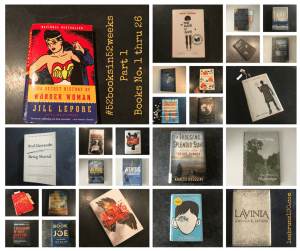 Collage of first 25 books read by Leah Fisher Nyfeler for #52booksin52weeks challenge 2018