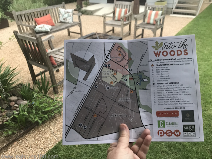 "Map for Preservation Austin ""Into the Woods"" Homes Tour shown in French Place backyard"