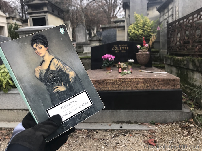 Copy of Cheri and The Last of Cheri in front of Colette's grave at Pere Lachaise cemetery in Paris
