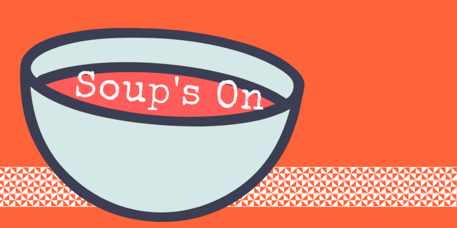 illustrated bowl on orange background Soup's On