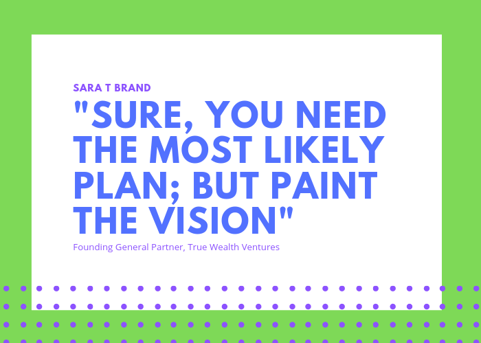"""Quote from Sara T Brand: Sure, you need the most likely plan; but paint the vision."""""""
