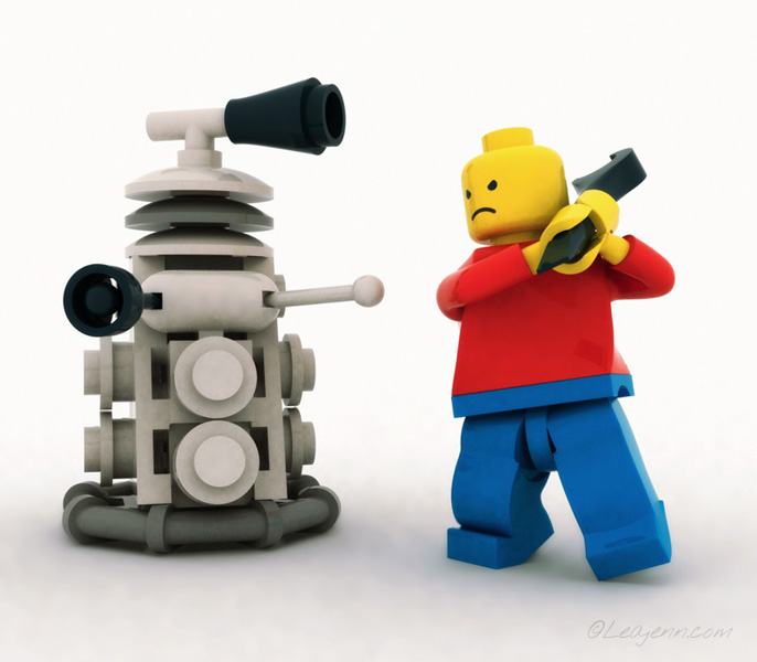 <h4>LEGO Minifigure and Dalek</h4><h5>Illustration</h5><h3>3D</h3><h6><a href='https://leajenn.com/portfolio/lego-minifigure-and-dalek'>Link to this</a></h6> <p>3D scene of a LEGO Minifigure and LEGO Dalek having a