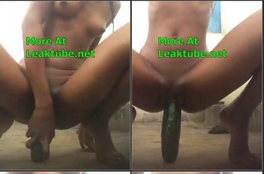 Ghana Horny Kumasi Girl Magaret Ansah Masturbating With Big Cucumber Leak