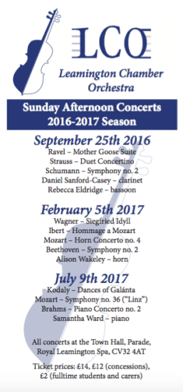 leamington chamber orchestra 2016-2017 concert series