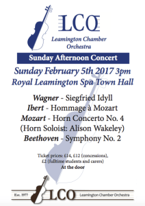 Leamington Chamber Orchestra February 2017 Concert