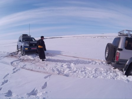 Getting stuck in snow on the way to the far-flung communities in Bayankhongor.