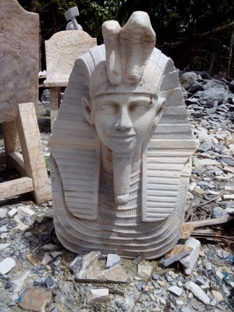 Egyptian-themed marble sculpture.