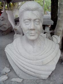 A marble bust, one of the more popular commodities and products in the marble capital of the Philippines.