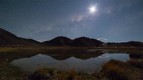 Vía Láctea, Luna y laguna