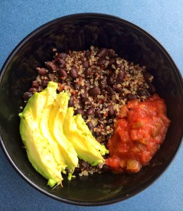 Quinoa and Black Beans with Avocado and Tomato Salsa