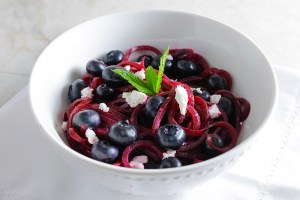 Beet Noodle Salad with Blueberries and Goat Cheese