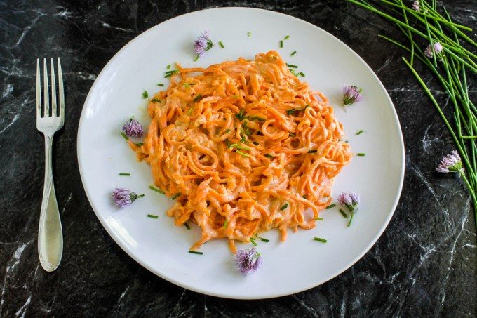 Sweet Potato Noodles with Cheesy Chive Sauce