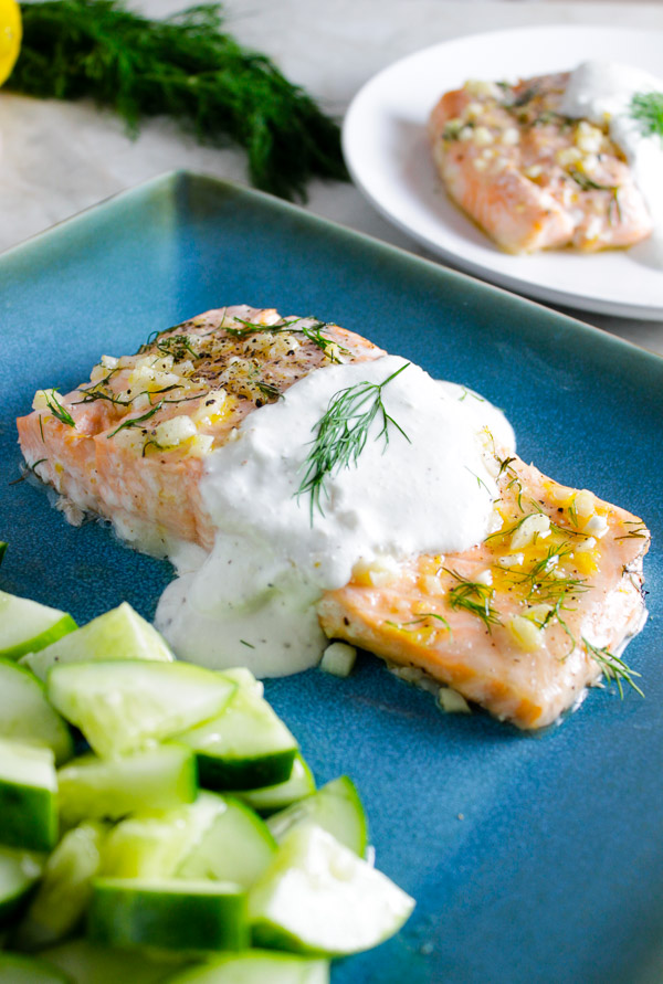 Lemon Dill Salmon with Feta Yogurt Sauce