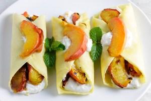 Roasted Peach & Honey Ricotta Crepes