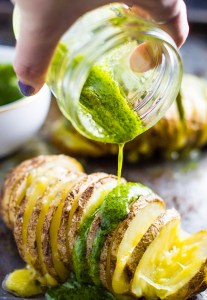 Cheesy Pesto Hasselback Potatoes