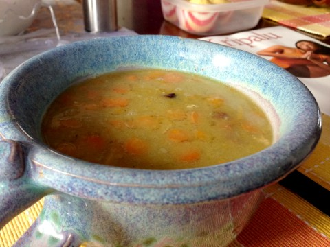 My all-time favorite - crock pot split pea soup with smoked ham