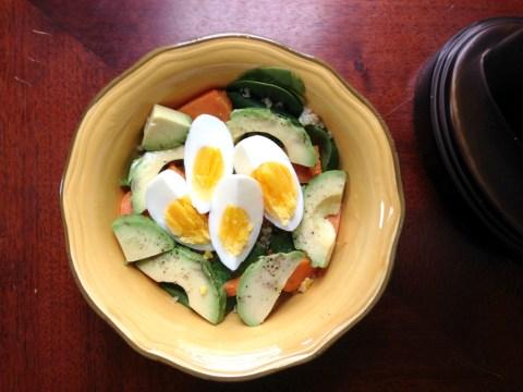 Baby spinach, quinoa, sweet potato, avocado, hardboiled eggs