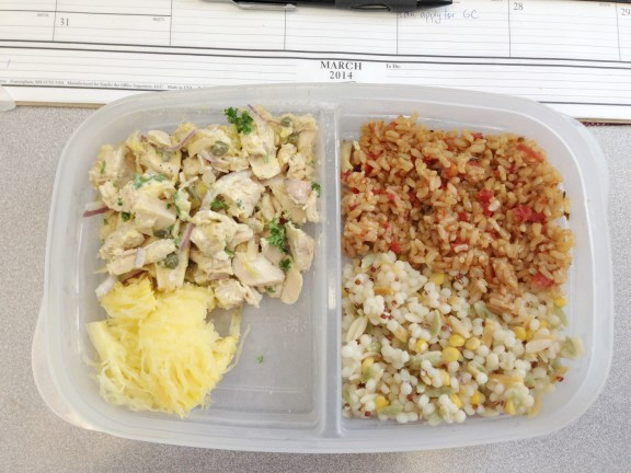 Leftovers: home made Spanish rice, Harvest grain blend, spaghetti squash and chicken salad