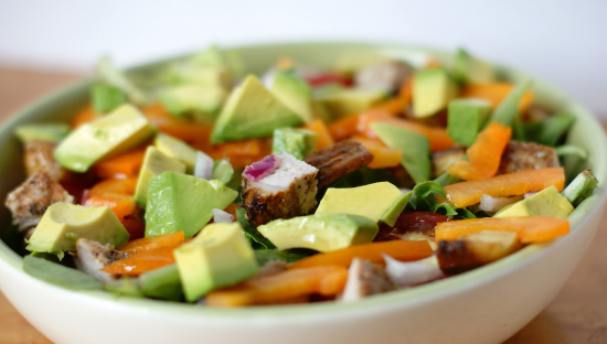 grilled pork avocado salad