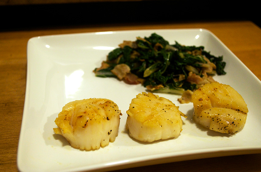 Pan Seared Scallops and Sauteed Swiss Chard with Bacon