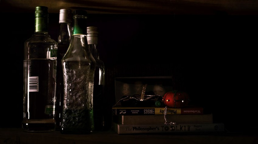 still-life-bottles-shelf-books