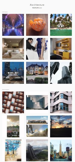 Architecture hashtag is very big and has so many images in it as well.
